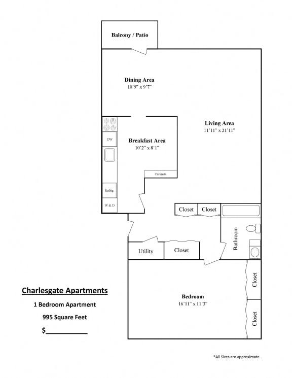 Charlesgate Apartments Towson Floor Plan 1 bedroom