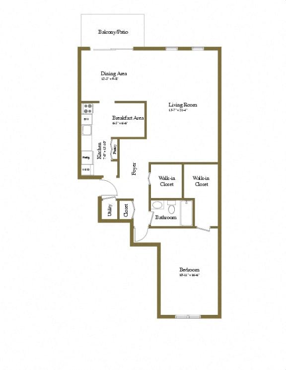 Charlesgate Apartments 1 Bedroom 1 Bathroom Floorplan