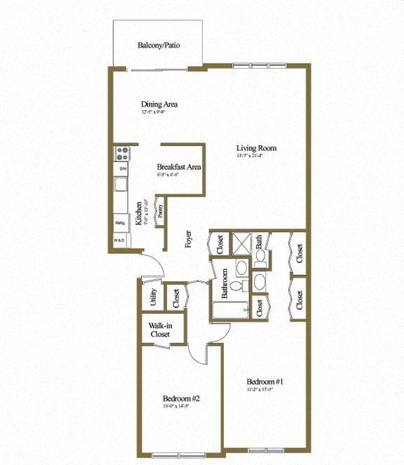 Charlesgate Apartments 2 Bedroom 2 Bathroom Floorplans