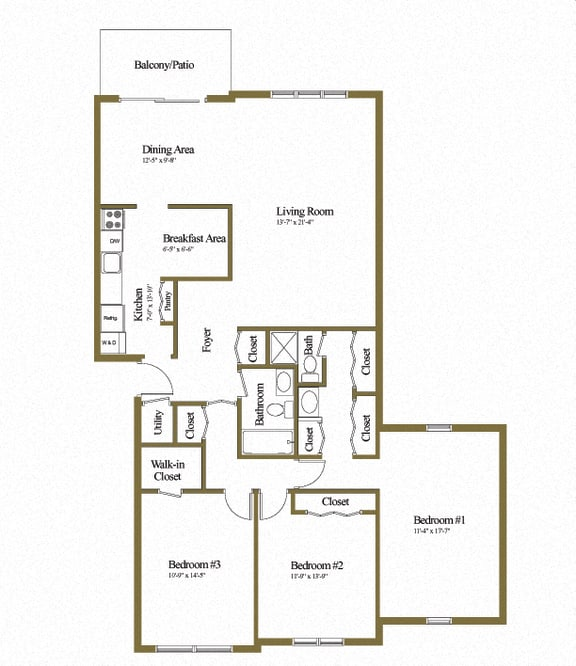 Charlesgate Apartments 3 Bedroom 3 Bathroom Floorplan