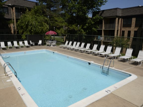 Private swimming pool at Charlesgate Apartments in Towson MD