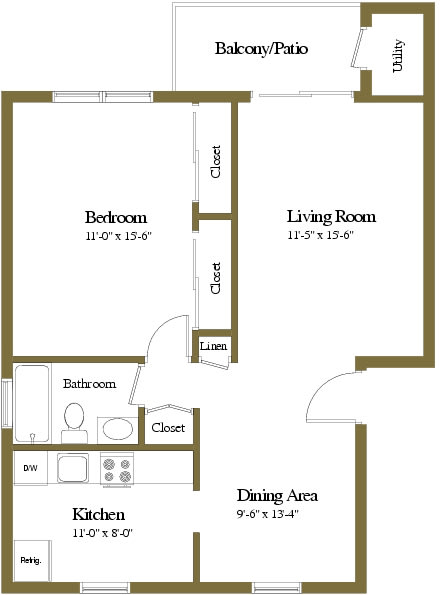 Colony Hill Apartments and Townhomes 1 Bedroom Floorplan