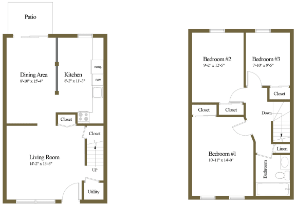 Colony Hill 3 Bedroom 1 Bathroom Townhome Floorplan