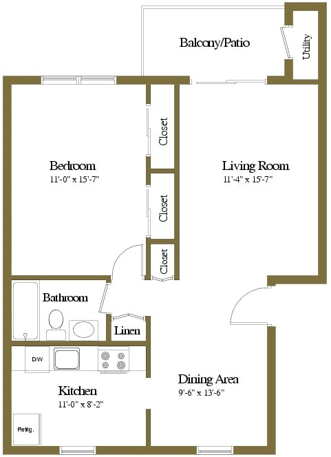 1 bedroom 1 bathroom style a floor plan at Liberty Gardens Apartments in Windsor Mill MD