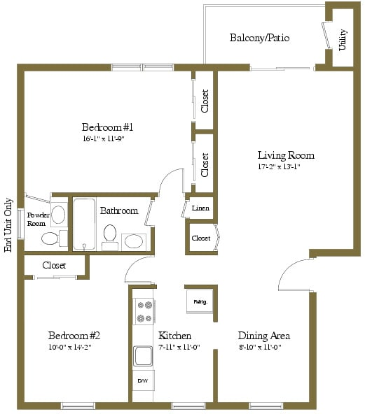 2 bedroom 1.5 bathroom style a floor plan at Liberty Gardens Apartments in Windsor Mill MD