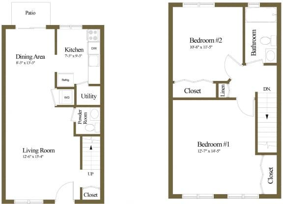 2 bedroom 1 bathroom floor plan at McDonogh Village Apartments in Randallstown MD