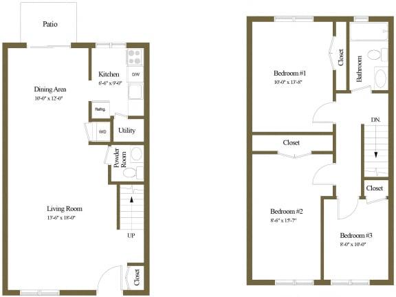 3 bedroom 1.5 bathroom with den floor plan at McDonogh Village Apartments in Randallstown MD