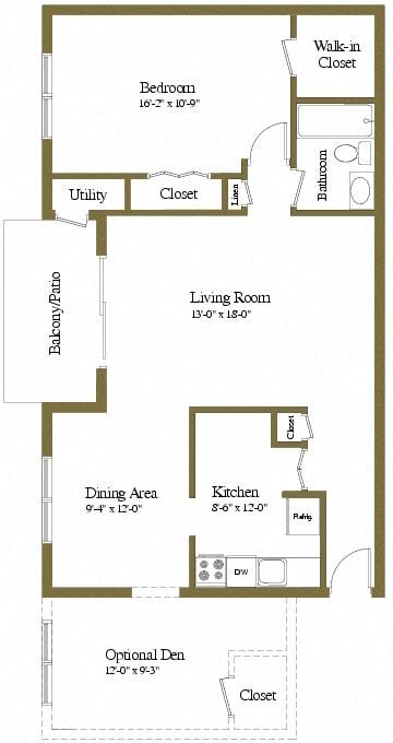 1 bedroom 1 bathroom with den floor plan at McDonogh Village Apartments in