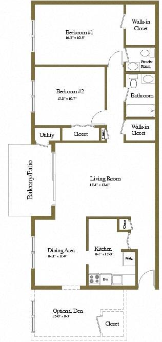 2 bedroom 1.5 bathroom with den floor plan at McDonogh Village Apartments in Randallstown MD