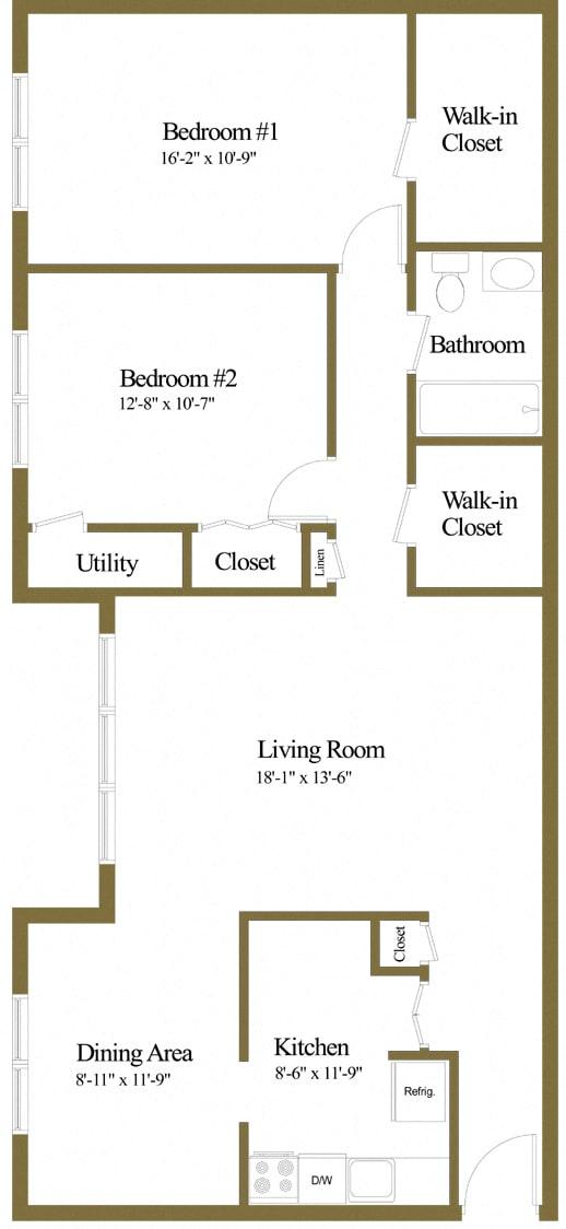 2 bedroom 1 bathroom with den floor plan at McDonogh Village Apartments in Randallstown MD