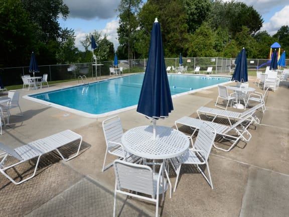 Private swimming pool and loungers at McDonogh Village