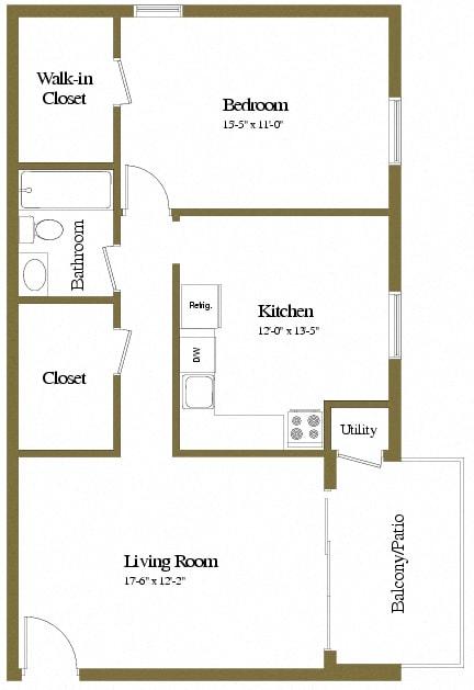 1 bedroom 1 bathroom studio apartment at Painters Mill Apartments