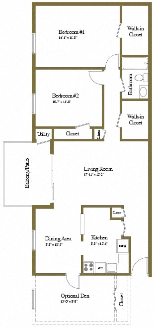 2 bedroom 1 bathroom with den floor plan at Painters Mill Apartments