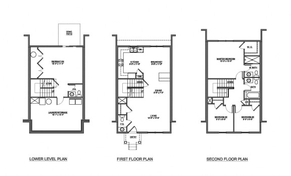 3 bedroom 2.5 bathroom with walkout floor plan at The Pointe at Manorgreen in Middle River, MD