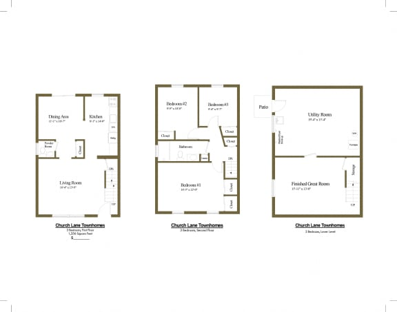 3 bedroom 1.5 bathroom floor plan at Rockdale Gardens and Townhomes and Clifmar and Hilmar in Windsor Mill, MD