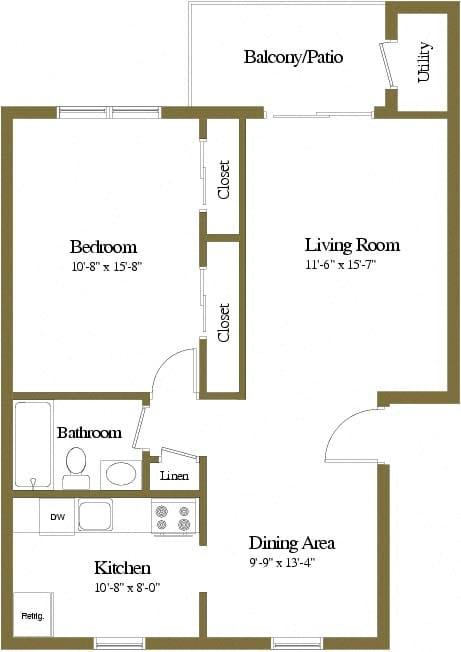 1 bedroom 1 bathroom floor plan at Rockdale Gardens Apartments in