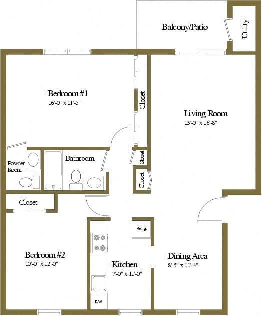 2 bedroom 1.5 bathroom floor plan at Rockdale Gardens Apartments in Windsor Mill, MD