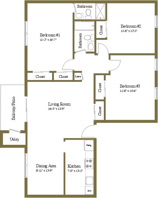 3 bedroom 2 bathroom floor plan at Rockdale Gardens Apartments in Windsor Mill, MD