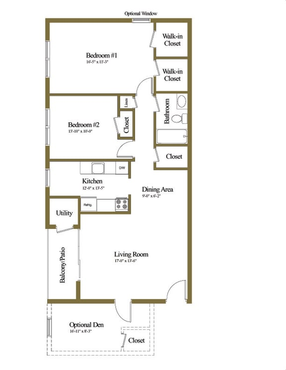 2 bedroom 1 bathroom floor plan at Seminary Roundtop Apartments in Towson MD