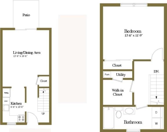 1 bedroom 1 bathroom Ashland floor plan at Seven Oaks Townhomes in Edgewood, MD
