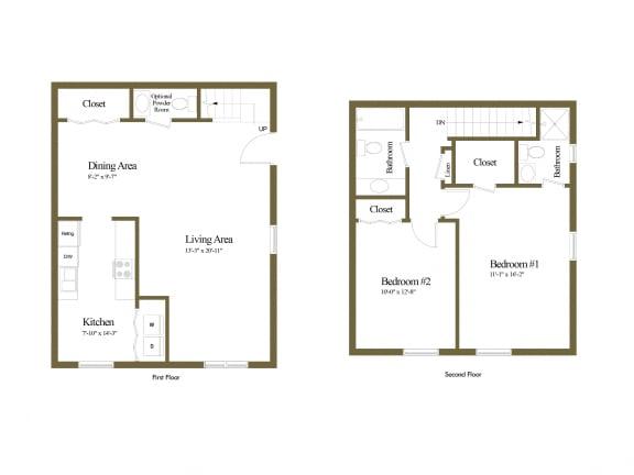 2 bedroom 2.5 bathroom end unit floor plan at Spring Hill Townhomes in Parkville, MD