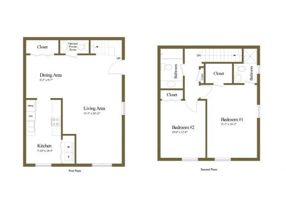 1 bedroom 1 bathroom with den floor plan at Spring Hill Apartments in Parkville, MD