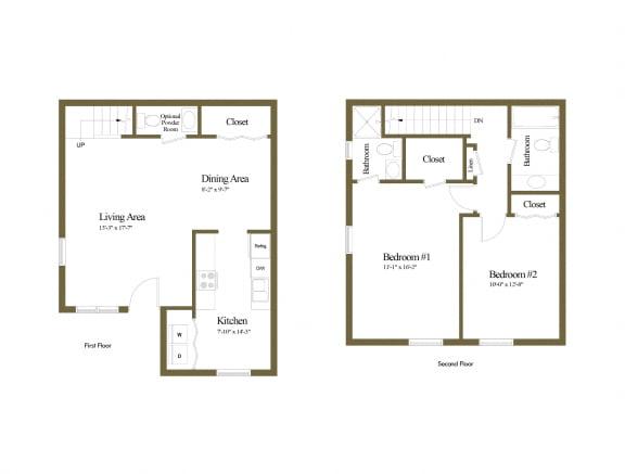 2 bedroom 2 bathroom inside unit floor plan at Spring Hill Townhomes in Parkville, MD