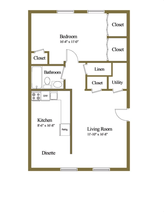 1 bedroom 1 bathroom floor plan at Winston Apartments in Baltimore Belvedere MD