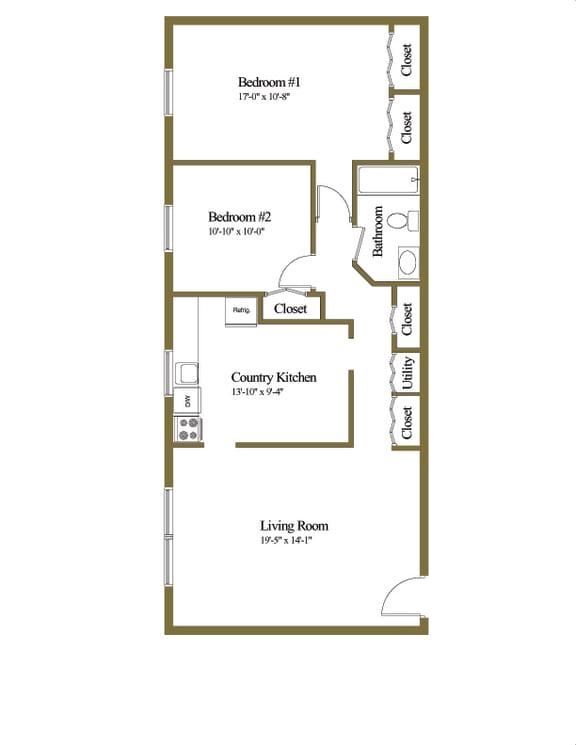 2 bedroom 1 bathroom  floor plan at Winston Apartments