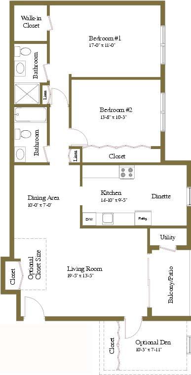 2 bedroom 2 bathroom floor plan at Woodridge Apartments in Randallstown, Maryland