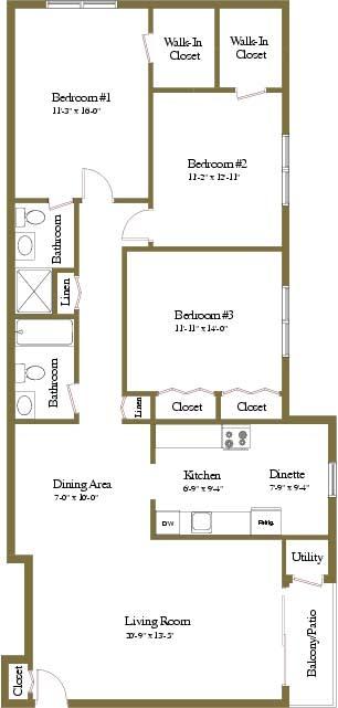 3 bedroom 2 bathroom floor plan at Woodridge Apartments in Randallstown, Maryland