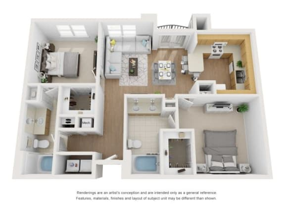 Floor Plan  Maple 3D Floor Plan at Marquette at Piney Point, Houston, TX, 77063