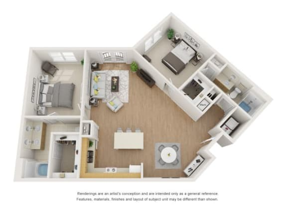 Floor Plan  Pine 3D Floor Plan at Marquette at Piney Point, Texas, 77063