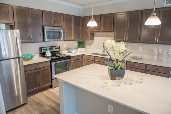 Slate Gray Shaker Style Maple Cabinets at Marquette at Piney Point, Houston, 77063