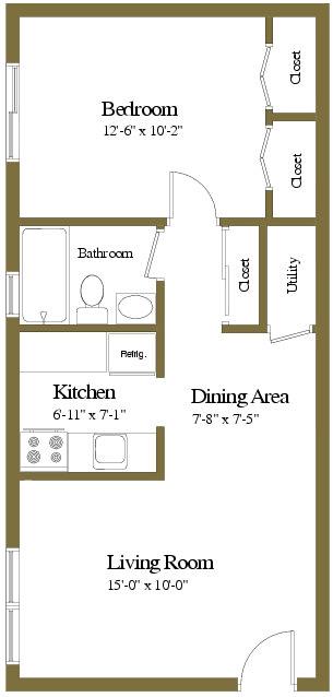 1 bedroom 1 bathroom apartment Devon at Arbuta Arms Apartments