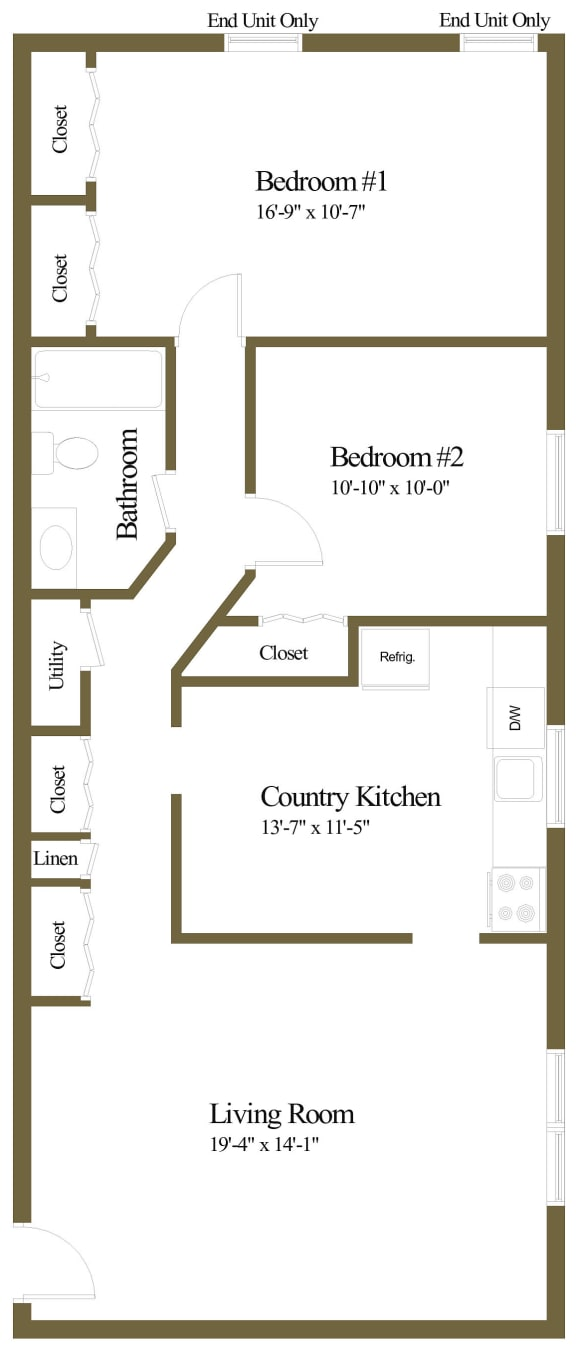 2 bedroom 1 bathroom Downing at Arbuta Arms Apartments