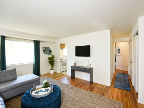 Original hardwood floors at Arbuta Arms Apartments