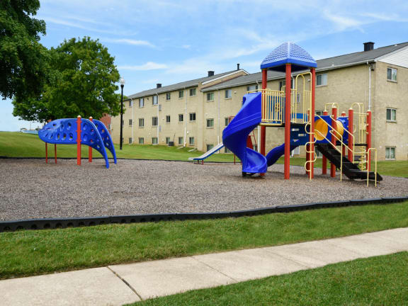 New outdoor playground with jungle gym for children