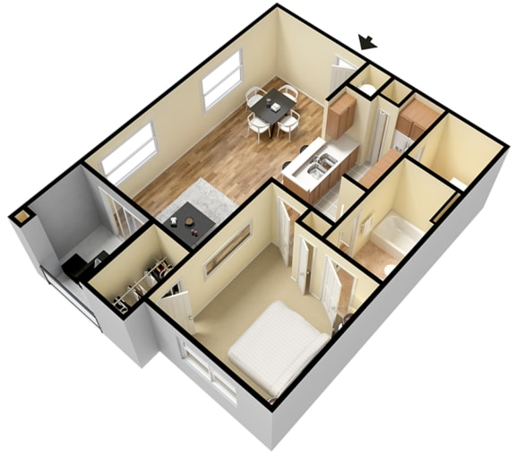 Floor Plan  Rapallo Apartments Capri B 1 bedroom floor plan