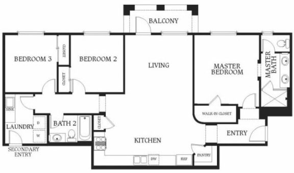 Floor Plan  3 x 2b Floorplan at Union Place Apartments,  California, 92870