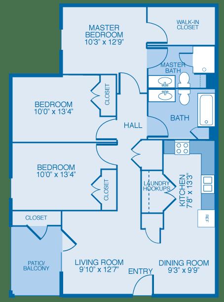 Cedarbrook Floor Plan at Maple Brook Apartments, Louisville, 40241