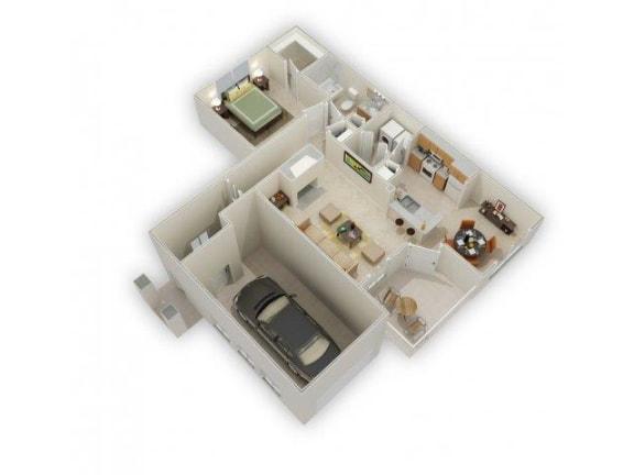 Floor Plan  Chaucer 1 Bed 1 Bath Floor Plan at Main Street Village Apartments