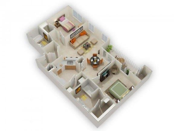 Floor Plan  Ocatilla Two Bed Two Bath Floor Plan at Main Street Village Apartments