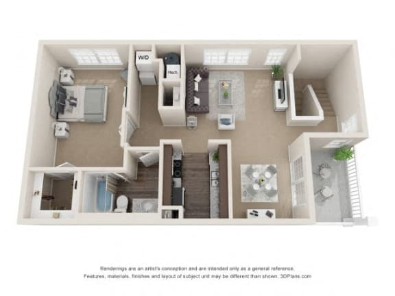 Blake One Bedroom One Bath Floor Plan at Fairlane Woods Apartments, Dearborn
