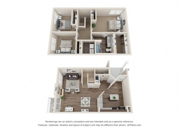 Coleridge Town Home Three Bedroom Floor Plan at Fairlane Woods Apartments, Dearborn, MI, 48126