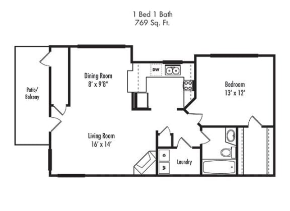 Floor Plan  1 x 1  Floorplan at at Canyon Villa Apartment Homes, Chula Vista, CA, 91910
