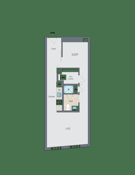 A1B Floor Plan at Reed Row, Washington, DC