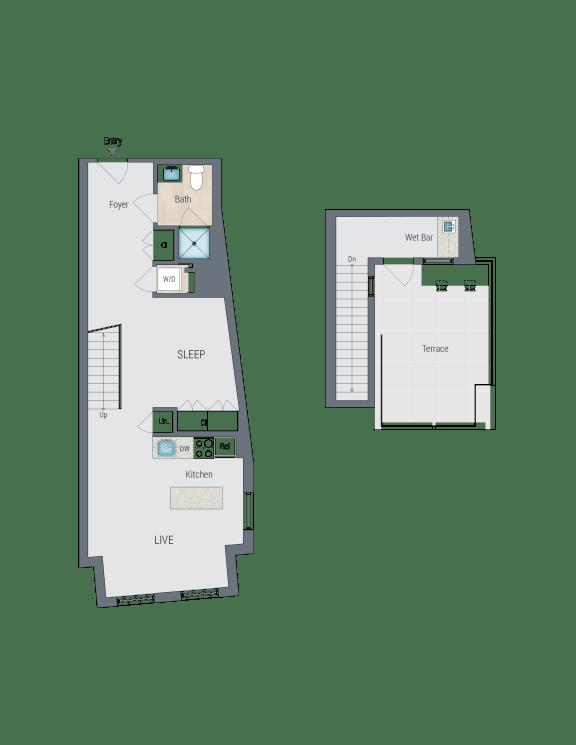 A3R Floor Plan at Reed Row, Washington, DC