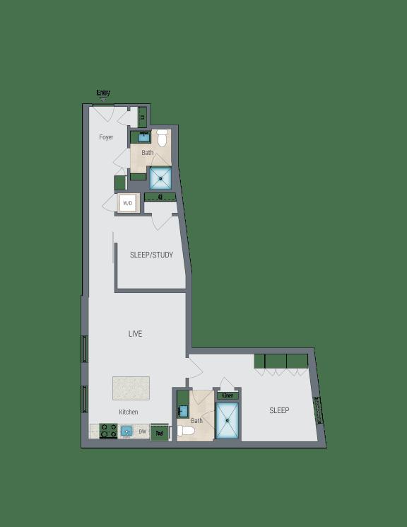 C1 Floor Plan at Reed Row, Washington, DC, 20009