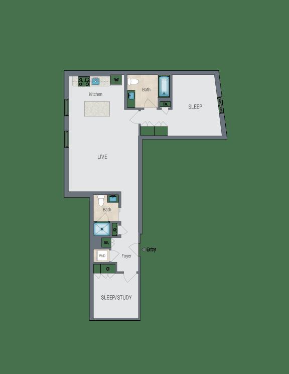 C2 Floor Plan at Reed Row, Washington, DC